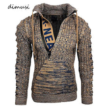 Load image into Gallery viewer, DIMUSI Autumn Winter Men's Sweaters Fashion Knitted Morality Turtleneck Sweatshirt Hoodies Male Warm Hooded Pullovers Clothing