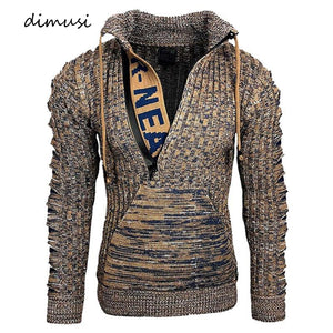 DIMUSI Autumn Winter Men's Sweaters Fashion Knitted Morality Turtleneck Sweatshirt Hoodies Male Warm Hooded Pullovers Clothing