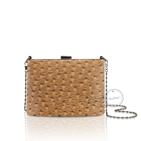 Artificial Ostrich Evening Purse - Small - Yellow