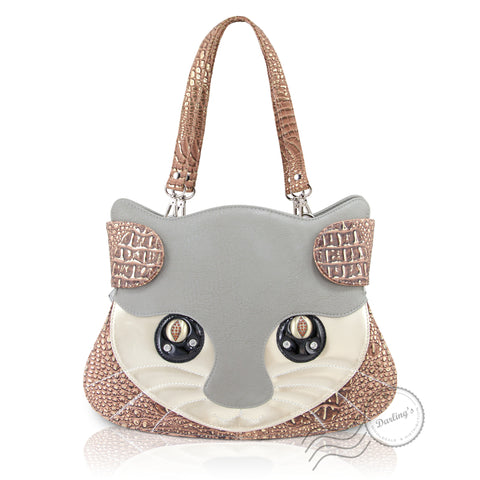 HAM-9706 - Cat Face Design Handbag - Grey