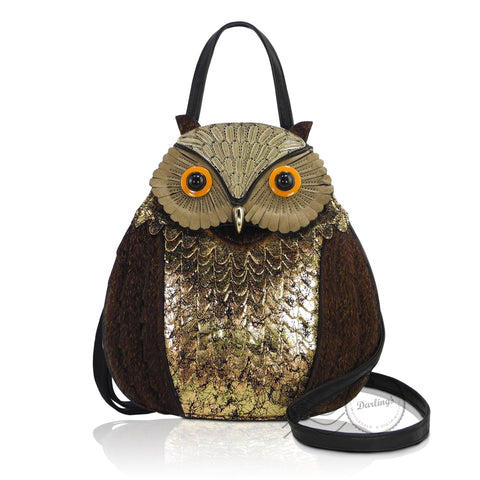 HDA2397 - Owl Handbag - Brown Gold