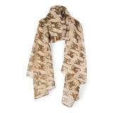 SAB01 - Cat Pattern Oblong Scarf - Khaki