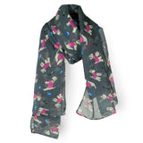 SAB01 - Puppy Pattern Oblong Scarf - Black