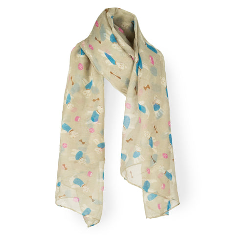 SAB01 - Puppy Dog Pattern Oblong Scarf - Khaki