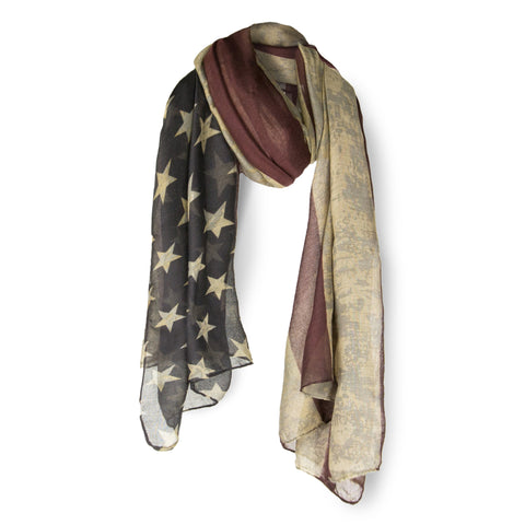 SAB02 - United States Flag Pattern Oblong Scarf - Vintage