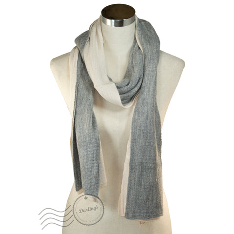 SSY302-02 Dual-sided Colors Scarf Beige/Grey