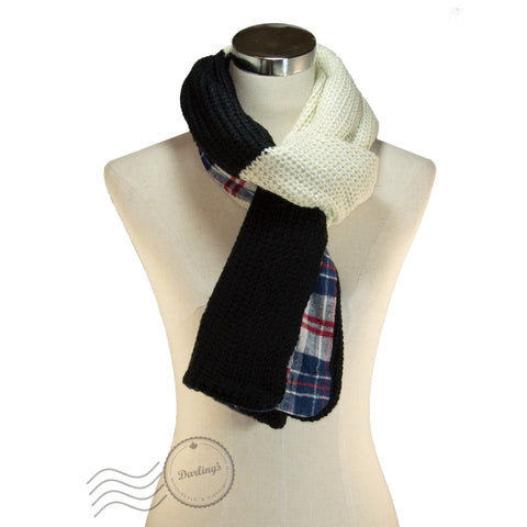 SSY307-01 Plaid Pattern Scarf Black