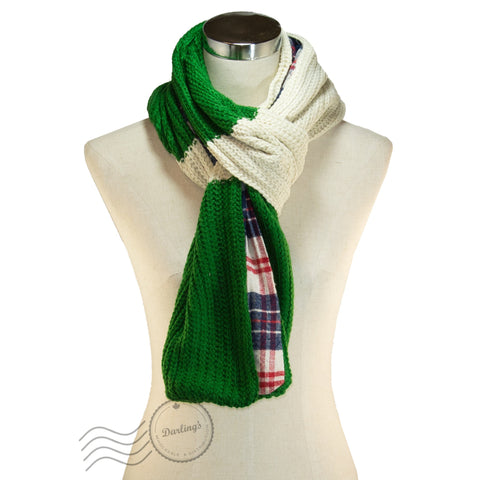 SSY307-02 Plaid Pattern Scarf Green