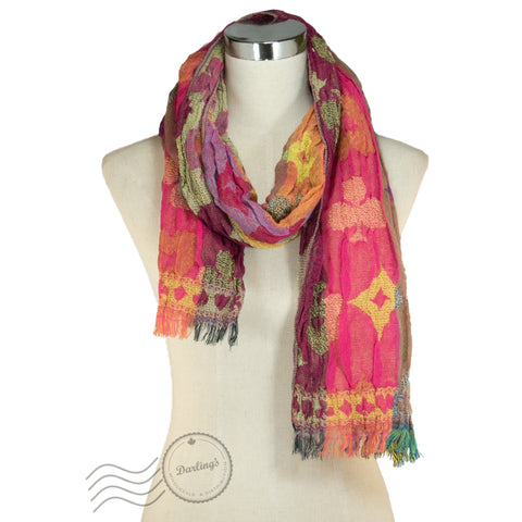 SSY311-02 Poker Pattern Crinkle Scarf Pink