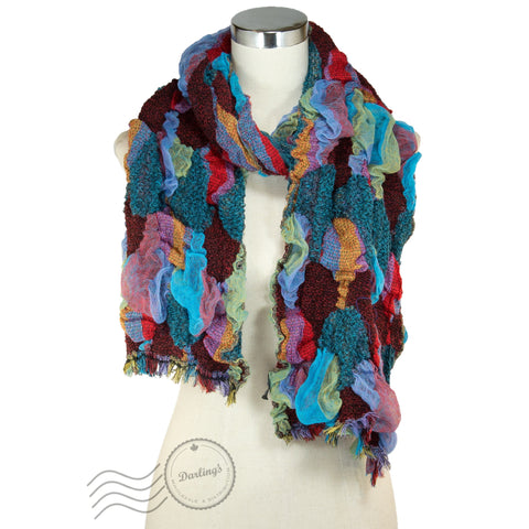 SSY315-02 Vivid Wavy Texture Scarf Teal