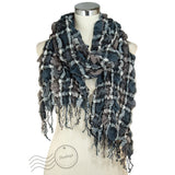 SSY317-02 Breezy Crinkle Plaid Scarf Black