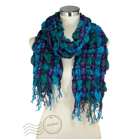 SSY317-04 Breezy Crinkle Plaid Scarf Green