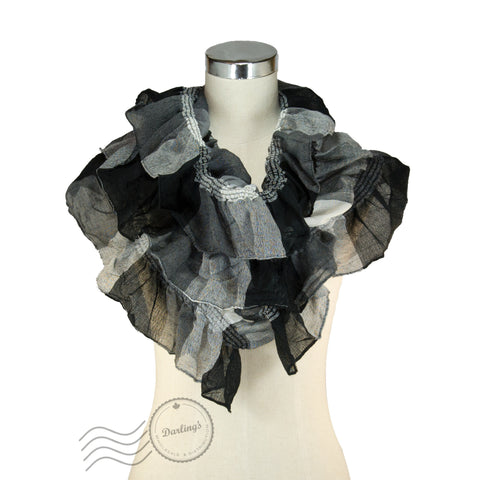 SSY319-01 Water-colour Crinkle Scarf Black