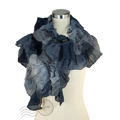 SSY319-02 Water-colour Crinkle Scarf Navy Blue