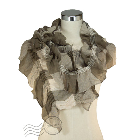 SSY319-03 Water-colour Crinkle Scarf Coffee