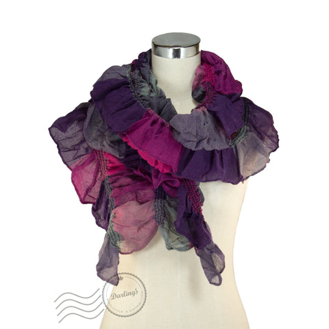 SSY319-05 Water-colour Crinkle Scarf Purple