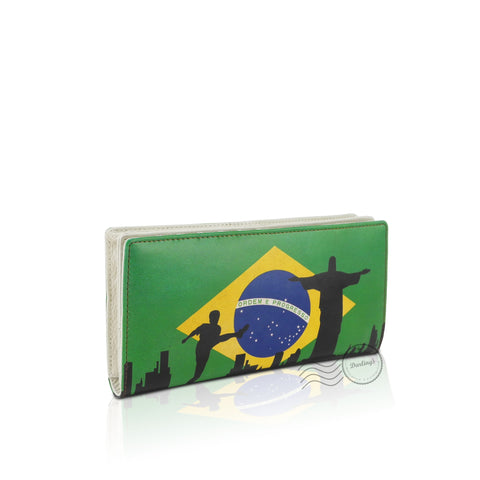 WTT801 - Leather Wallet - Long - Brazil Flag