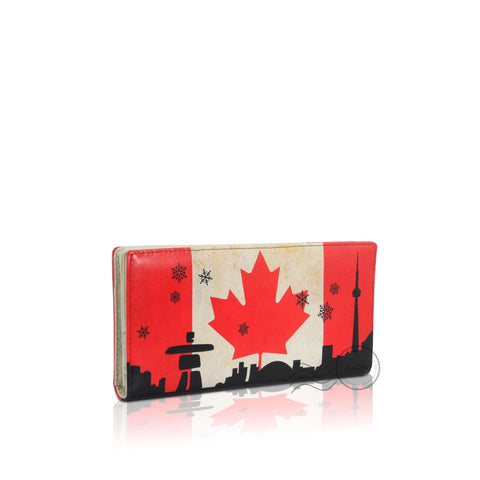 WTT801CA - Leather Wallet Long - Canada Flag