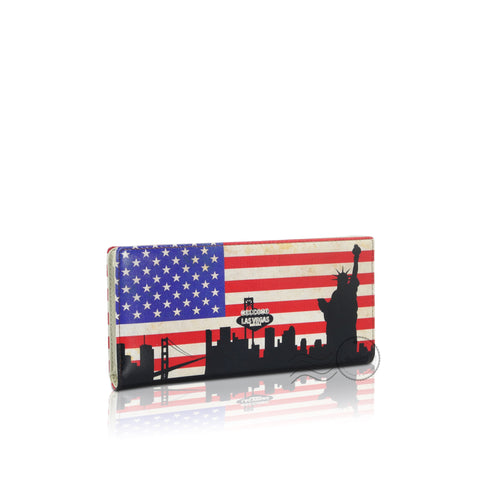 WTT-801 - Leather Wallet - Long - United States Flag