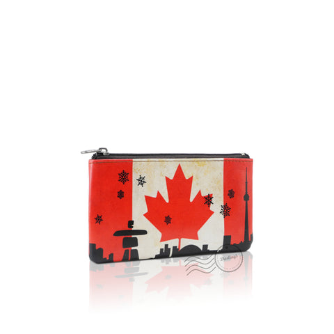 WTT803 - Leather Coin Purse - Canada Flag