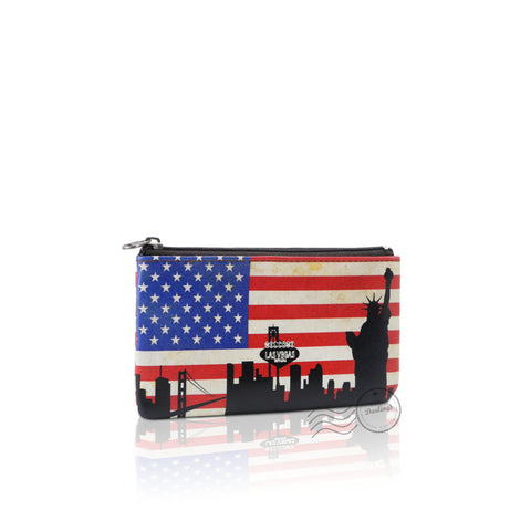 WTT803 - Leather Coin Purse - United States Flag