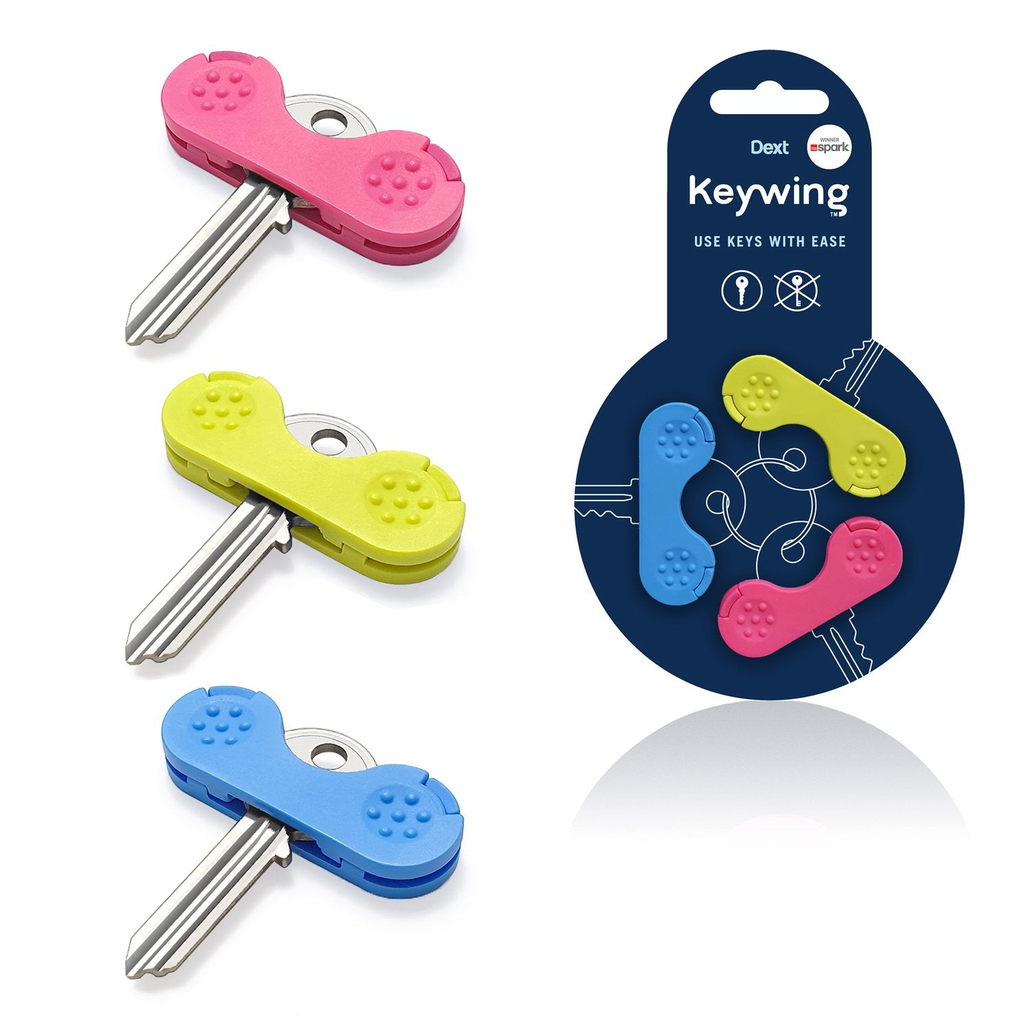 Keywing key turner triple pack front with blue, green and pink arthritis aids.