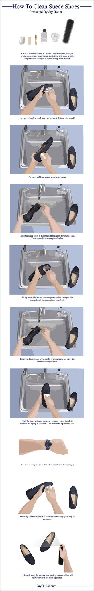 how to clean suede shoes infographic
