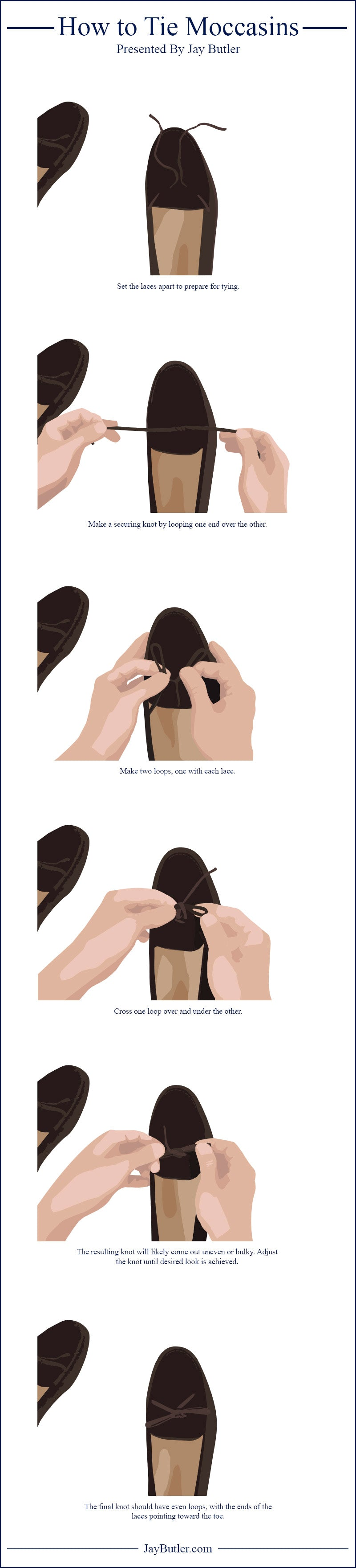 how to tie moccasins infographic