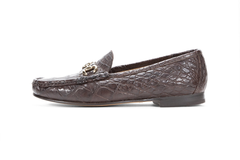 Alligator Leather Millbank Bit Loafer (Gold Bit)