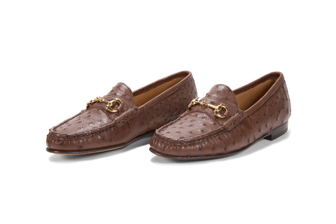 Ostrich Leather Bit Loafer (Gold Bit)