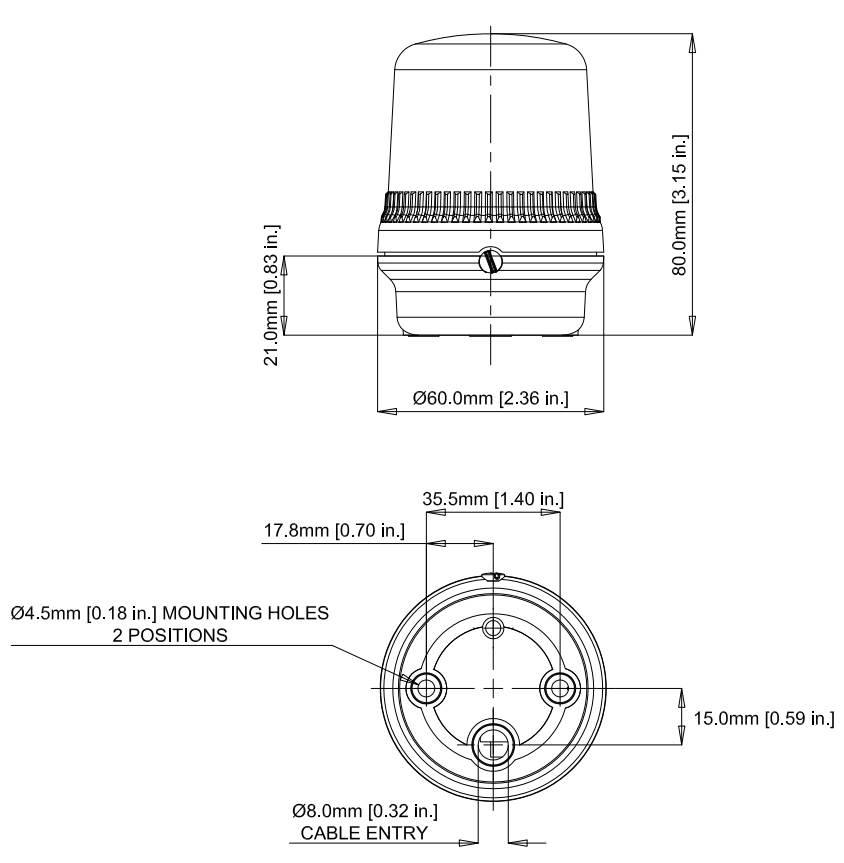 E2S B200LDA Beacon Dimensions