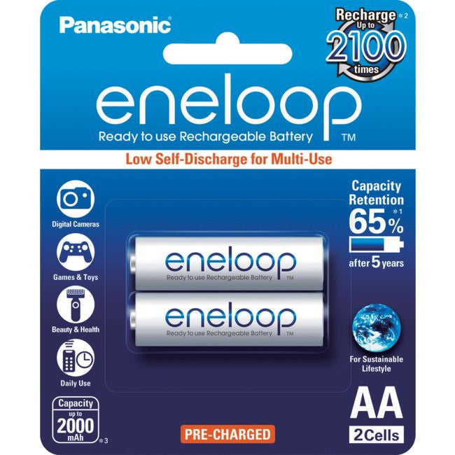 PANASONIC Eneloop 2-Pack AA Rechargeable Batteries - BNR Industrial