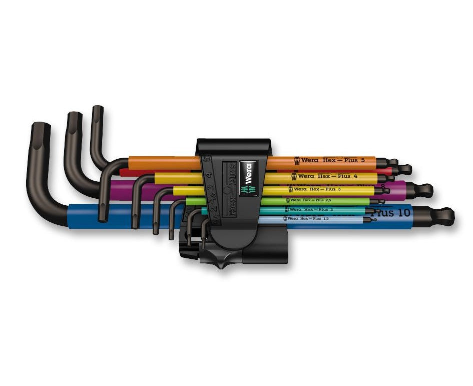 Wera 950 SPKL/P Multicoloured Long Arm Hex Wrench Set - BNR Industrial
