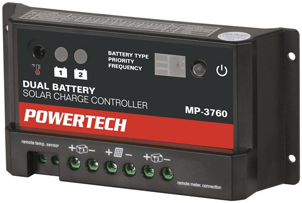 Powertech 12/24V 10A Dual Battery PWM Solar Charge Controller with LED Indicator - BNR Industrial