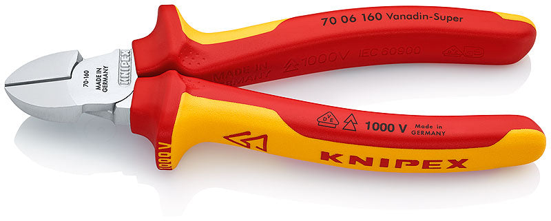 KNIPEX KNIPEX Diagonal Type VDE 1000V Wire Cutters, 160mm Overall Length - 70 06 160 - BNR Industrial