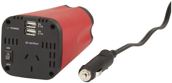 Powertech 150W Can-Sized Power Inverter with Dual 2.1A USB Output - BNR Industrial