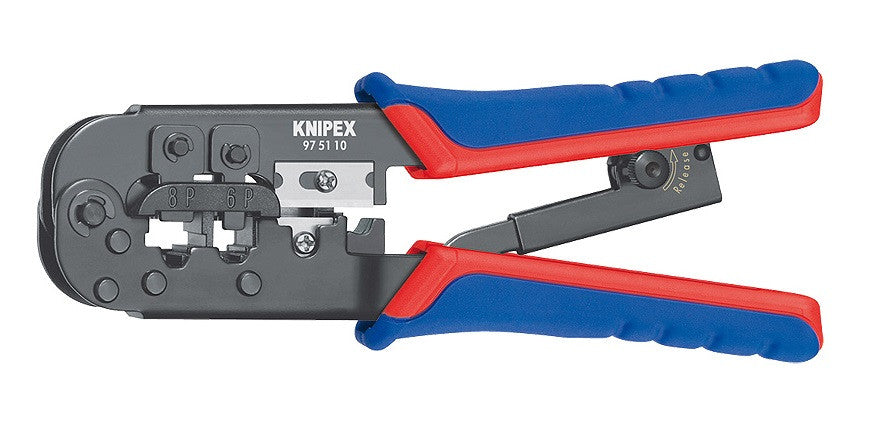 KNIPEX KNIPEX Crimp Tool for Modular Plug, RJ11, RJ12, RJ45 Wire Size - 97 51 10 - BNR Industrial