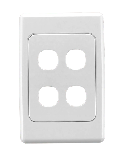 Clipsal CLIPSAL 2034VH Flush Surround and Grid Plate, 4 Gang, Vertical/Horizontal Mount - BNR Industrial
