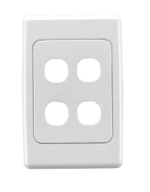 CLIPSAL 2034VH Flush Surround and Grid Plate, 4 Gang, Vertical/Horizontal Mount - BNR Industrial