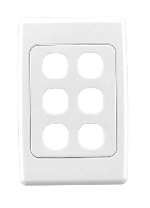CLIPSAL 2036VH Flush Surround and Grid Plate, 6 Gang, Vertical/Horizontal Mount - BNR Industrial