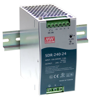 MEAN WELL SDR-240 Slim, High Reliability 240W Din Rail PSU
