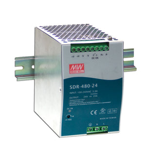 MEAN WELL SDR-480 Slim, High Reliability 480W Din Rail PSU