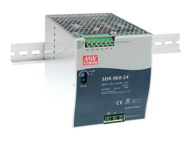 MEAN WELL SDR-960 Slim, High Reliability 960W Din Rail PSU