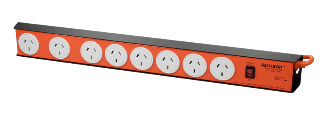 Jackson Jackson 8 Outlet Heavy Duty Metal Surge Protected Powerboard - PT8888 - BNR Industrial