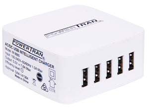 Powertran 5 Output Intelligent 7.8A High Current USB Charger - BNR Industrial