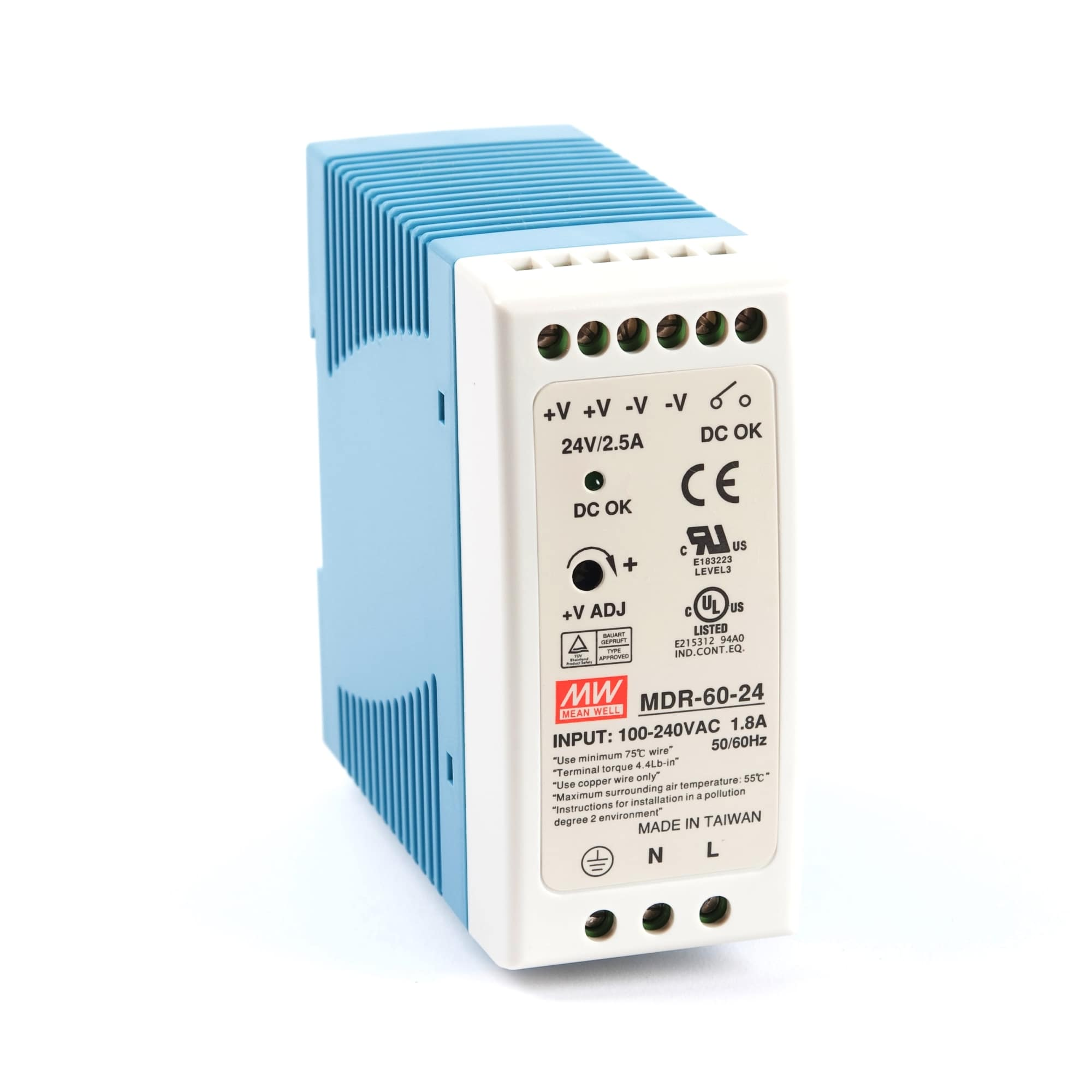 Mean Well MEAN WELL MDR-60 DIN Rail PSU - BNR Industrial