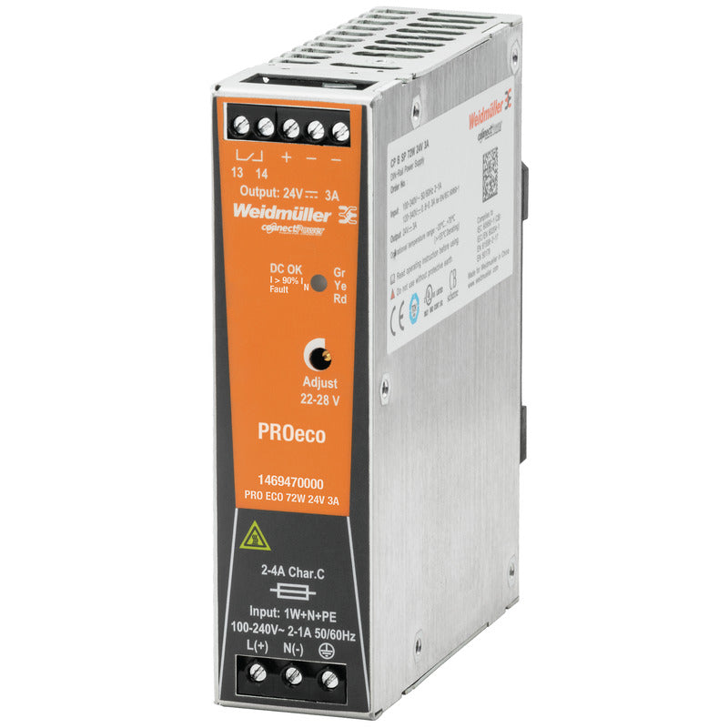 Weidmuller PRO ECO 72W 24V 3A Weidmüller Din Rail Mount PSU - 1469470000