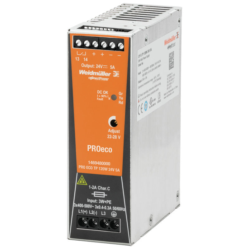 Weidmuller PRO ECO 120W 24V 5A Weidmüller Din Rail Mount PSU - 1469480000