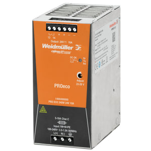 Weidmuller PRO ECO 240W 24V 10A Weidmüller Din Rail Mount PSU - 1469490000