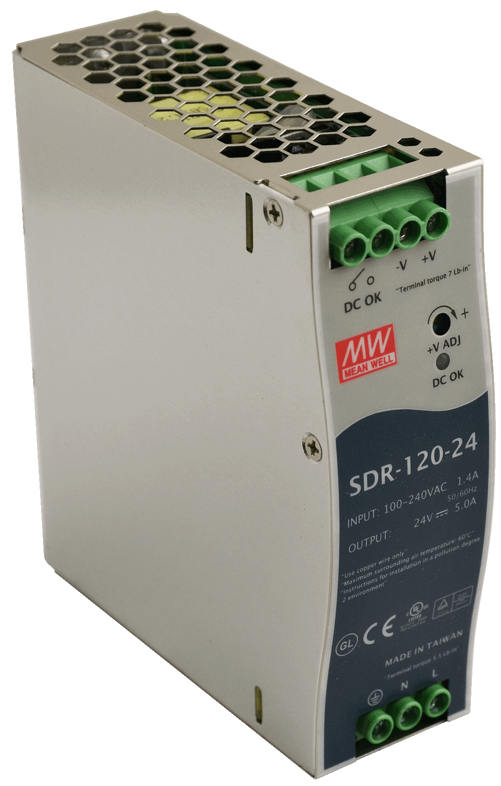 MEAN WELL SDR-120 Slim, High Reliability 120W Din Rail PSU